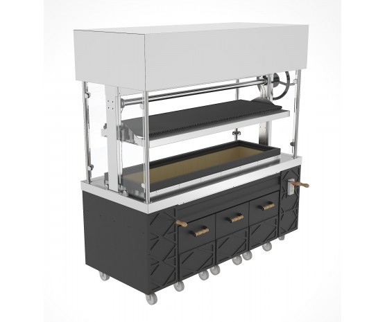 Argentinian grill - heavy duty - with glass sides and canopy