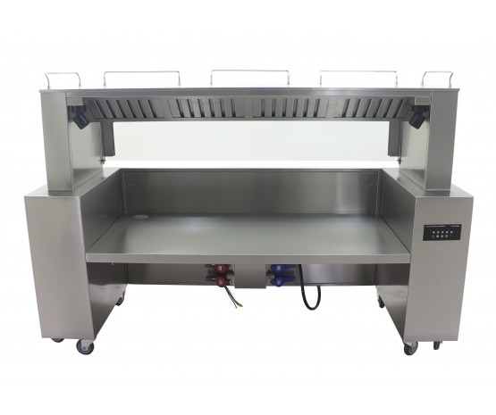 Front cooking station with carbon filtration
