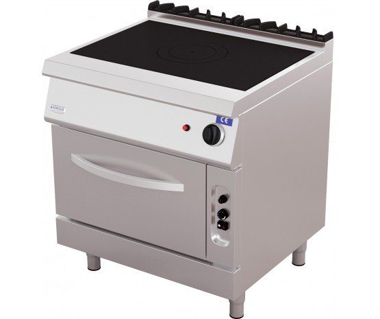 Solid top gas range with oven